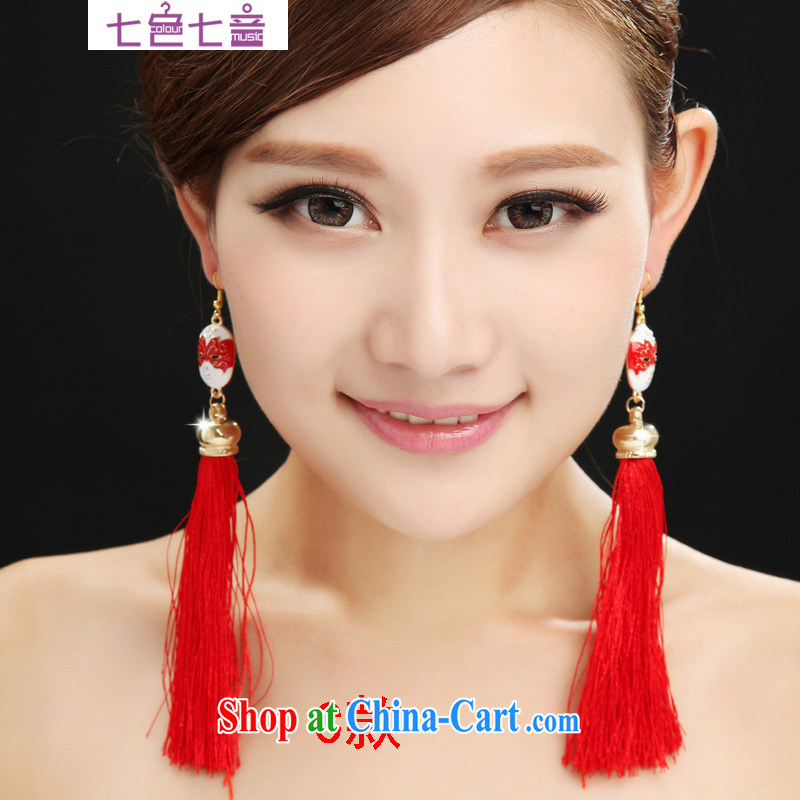7 color 7 tone costumes bridal earrings red Chinese style red ear ornaments marriage ear fall flow, red ear staple Chinese PS 003 C shall code