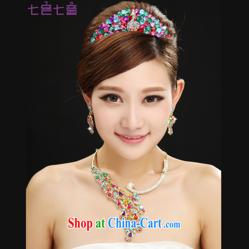 7-Color 7, Korean-style color bridal jewelry necklace earrings Crown 3 piece wedding dresses accessories and ornaments SP 005 Crown + necklace + ear fall all code