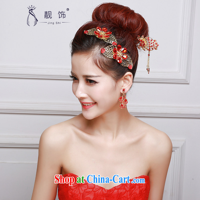 Beautiful ornaments 2015 new bridal red head-dress bow-tie Crown earrings dress dresses accessories accessories Red classic head-dress 046