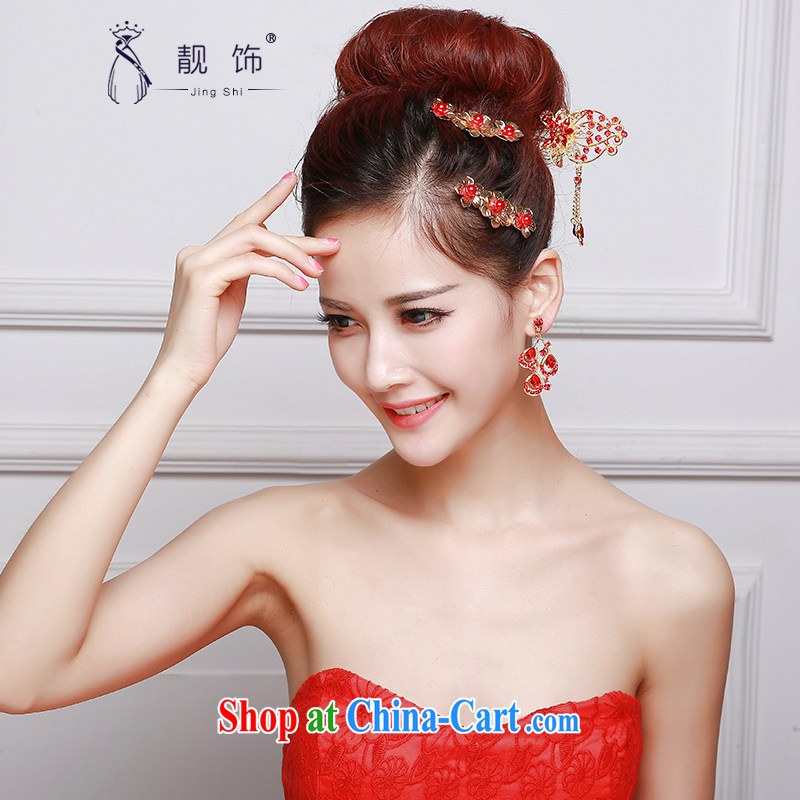 Beautiful ornaments 2015 new bridal red head-dress bow-tie Crown earrings dress dresses accessories accessories Red classic head-dress 047
