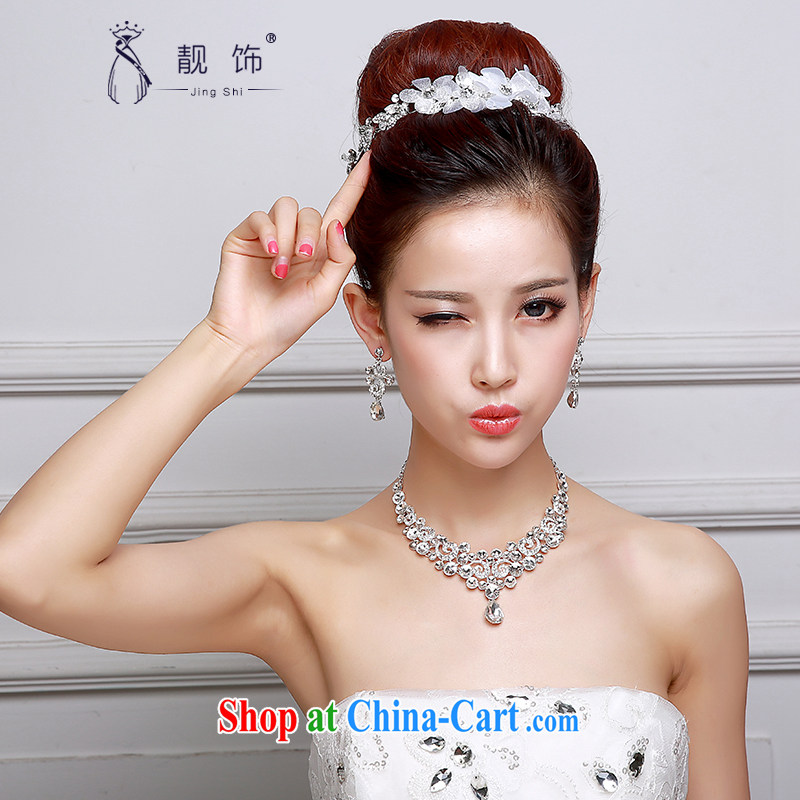 Beautiful ornaments 2015 new bridal head-dress necklace earrings 3-Piece wedding accessories white jewelry shadow building supplies wedding dresses accessories bridal jewelry 016