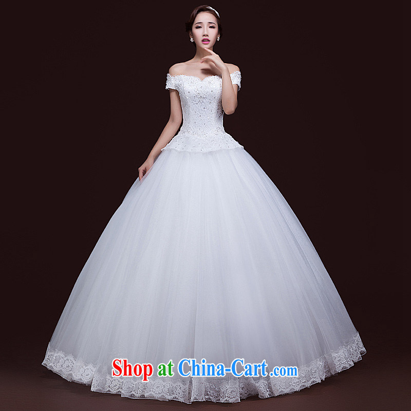Ho full Chamber 2015 spring and summer new wedding dresses bridal lace Korean word erase shoulder chest beauty with wedding white XL