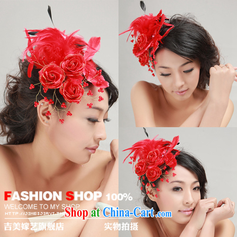 Bridal wedding dresses Accessories Kit Korean-style head-dress red silk flowers jewelry 2015 new Marriage and take red