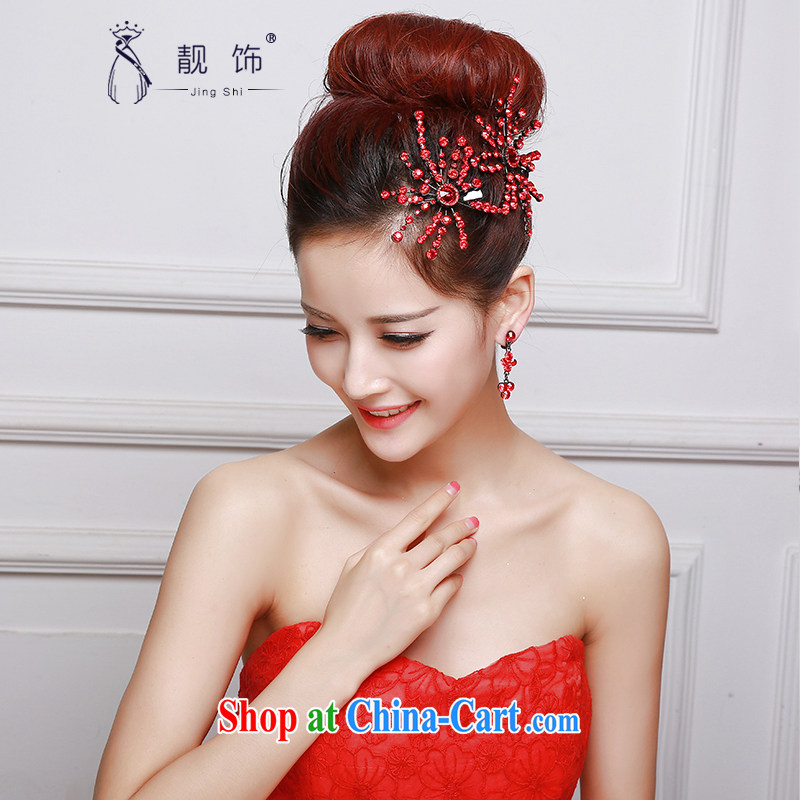 Beautiful ornaments 2015 new bridal head-dress red wedding Crown necklace earrings 3 piece wedding dresses with red Crown Kit 039