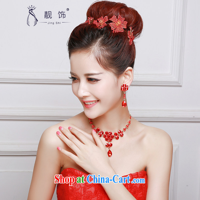 Beautiful ornaments 2015 new bridal red head-dress red flowers and ornaments Crown necklace earrings 3-Piece red flowers Kit 038