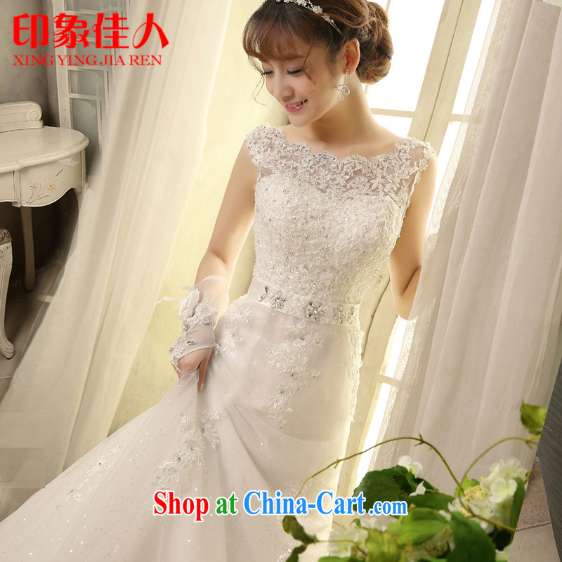 Bridal wedding dresses 2015 spring and summer new lace small tail wedding field shoulder retro tie-cultivating graphics thin H S 2808