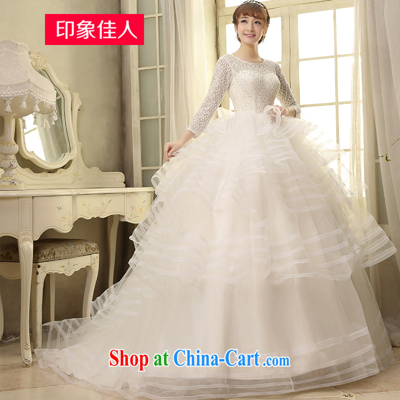 Leigh impression wedding dresses 2015 new, long-sleeved retro Web yarn shaggy dress party wedding bridal marriage H XL 2810