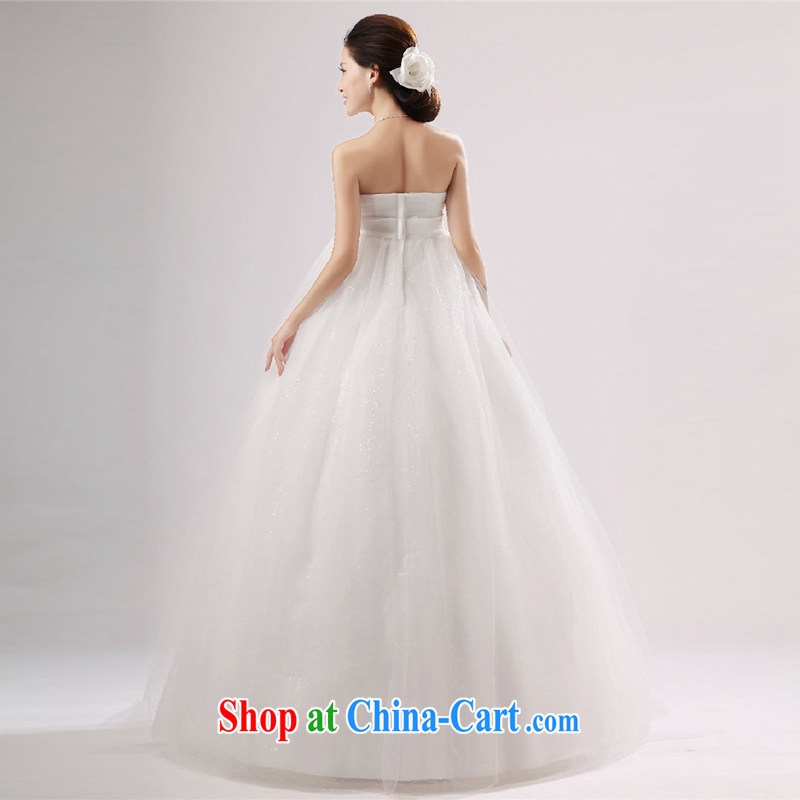 New wedding dresses flowers nails Pearl wiped his chest in the Code pregnant women wedding high waist straps zipper Korean Princess wedding dress white zipper XXXL