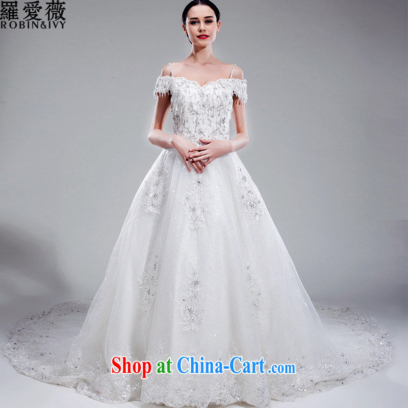 Love, Ms Audrey EU Yuet-mee, RobinIvy), Japan, and the Republic of Korea wedding dresses 2015 spring and summer new word erase shoulder chest long-tail marriages H 33,555 white L