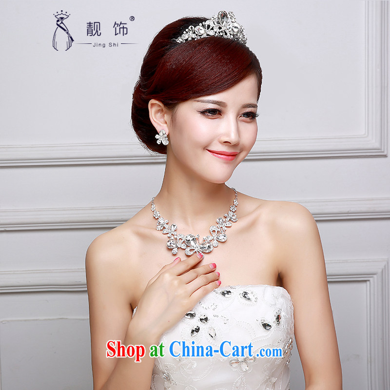 Beautiful ornaments 2015 new bridal jewelry diamond jewelry bridal wedding supplies Crown necklace earrings 3-Piece Crown Kit 004