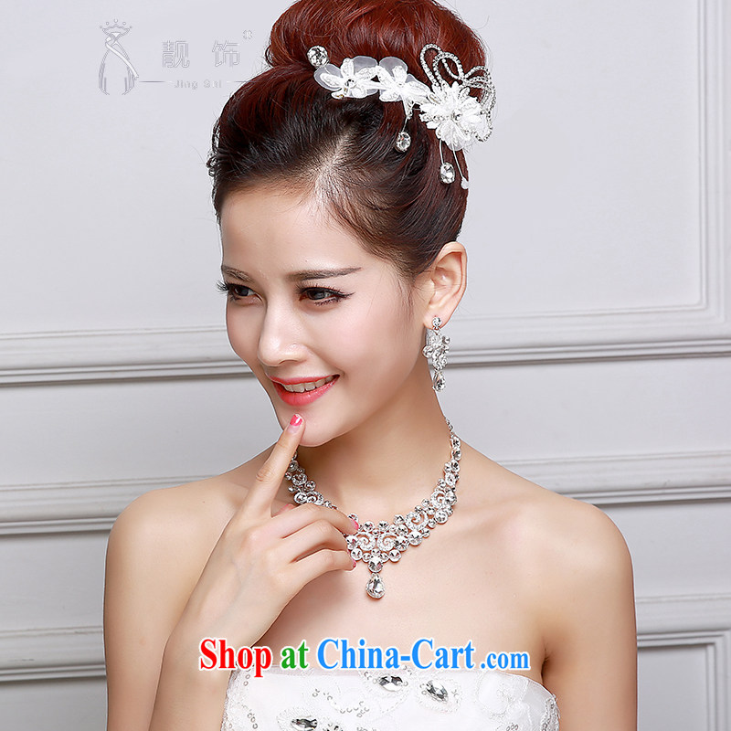 Beautiful ornaments 2015 new bridal headdress white lace flowers Deluxe Water drilling Crown necklace earrings 3-Piece Korean flowers SP 29