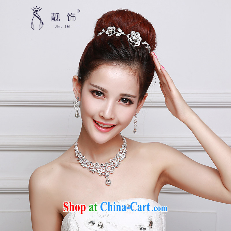 Beautiful ornaments 2015 new bridal headdress white alloy water drilling flowers Crown necklace earrings 3 piece water drilling flowers 065