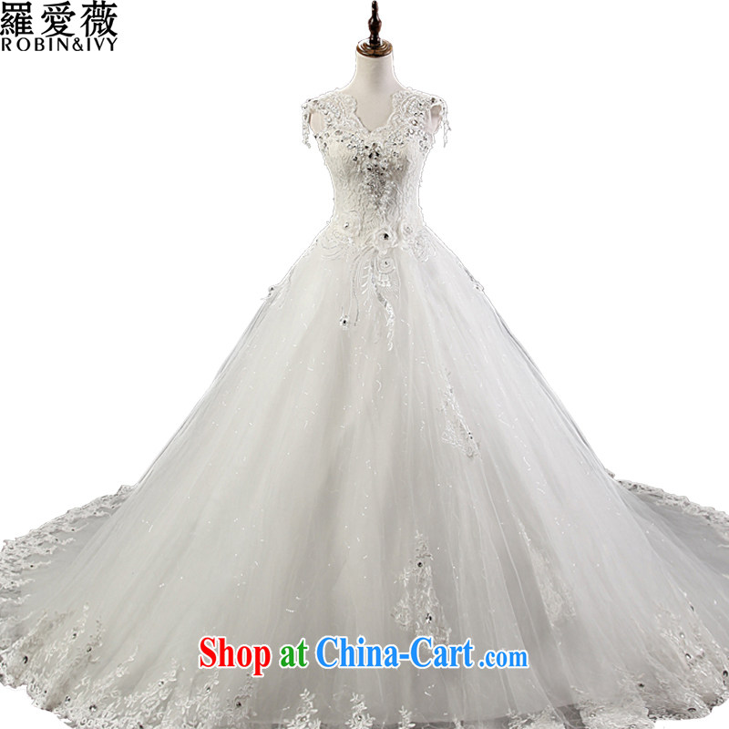 Love, Ms Audrey EU Yuet-mee, RobinIvy), Japan, and the ROK wedding dresses 2015 spring and summer new dual-shoulder V collar tail diamond jewelry marriages H 13,840 white XL