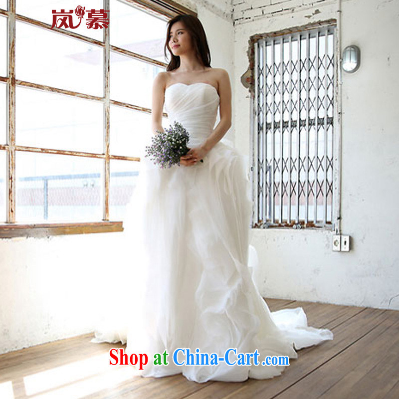 Sponsors The 2015 new Wang Wei designed minimalist style towel chest super multi-layer skirts, bridal wedding ivory XL (chest 95/waist 79)