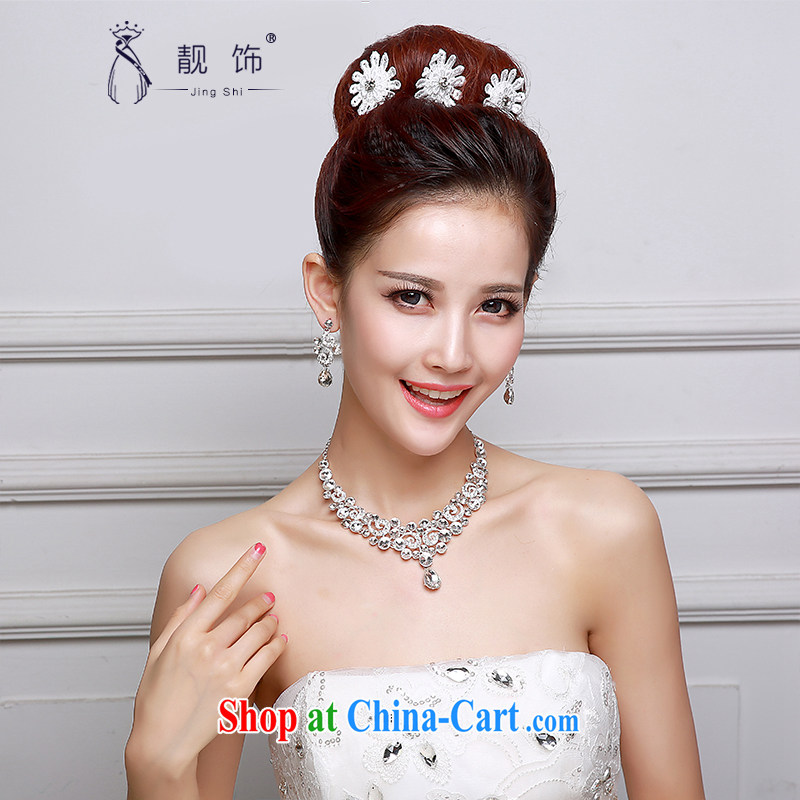 Beautiful ornaments 2015 new bridal headdress white lace water drilling flowers Crown necklace earrings 3 piece floral Crown Kit SP 31