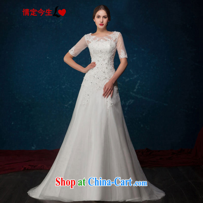 Love Life Euro 2015 summer New Field shoulder retro lace-wood drill-back exposed tail wedding dresses wedding dress White made for a