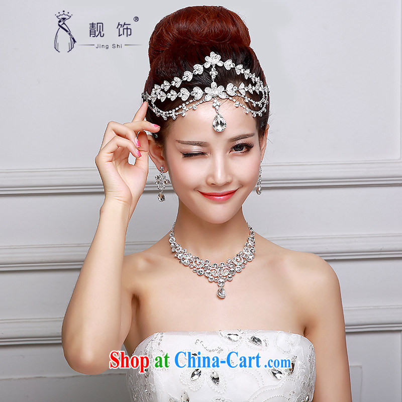 Beautiful ornaments 2015 new bridal headdress necklace ear ornaments Kit alloy water drilling bridal Crown wedding accessories accessories wedding supplies white-trim 019