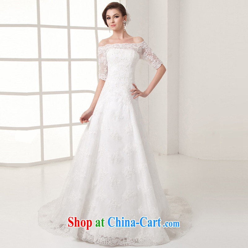 Clothing and love of a field shoulder marriages wedding dresses summer new 2015 lace crowsfoot A with luxurious long-tail cuff in graphics thin wedding female white to make the $30 not return