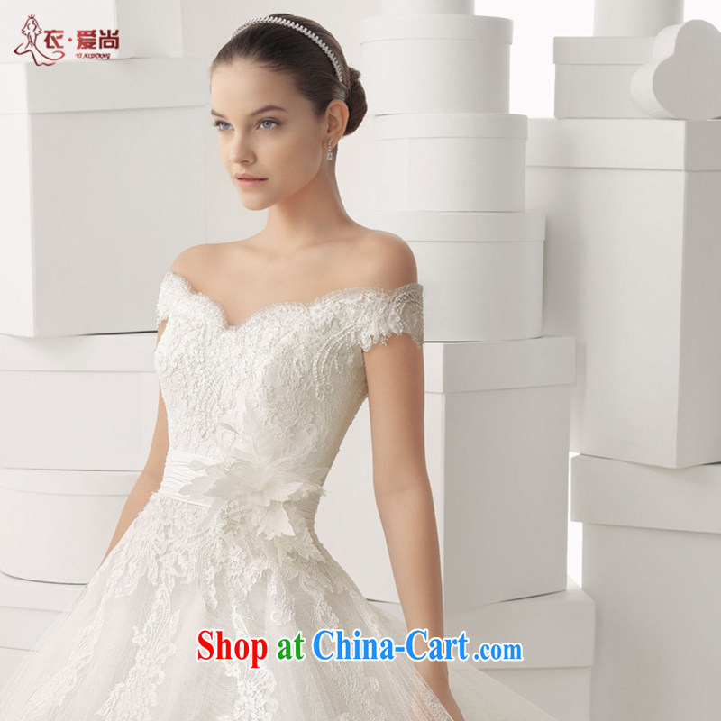New summer 2015, Korean V collar double-shoulder trailing white high-end custom water drilling lace bridal wedding dresses the code white to make the $30 does not return