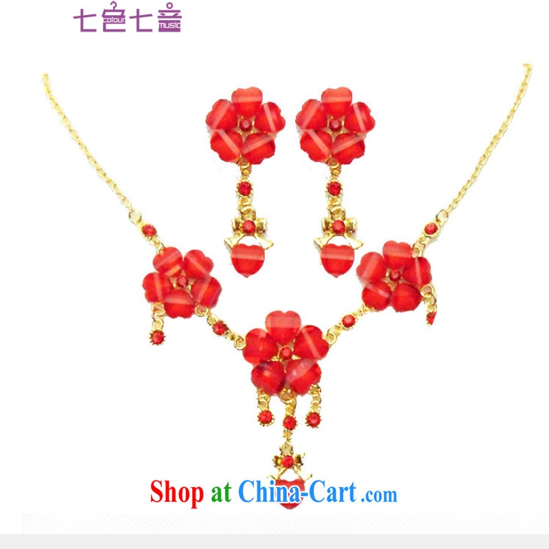 7 color 7 tone bridal jewelry 2-Piece red Korean-style necklace earrings wedding jewelry wedding accessories PS 033 red are code