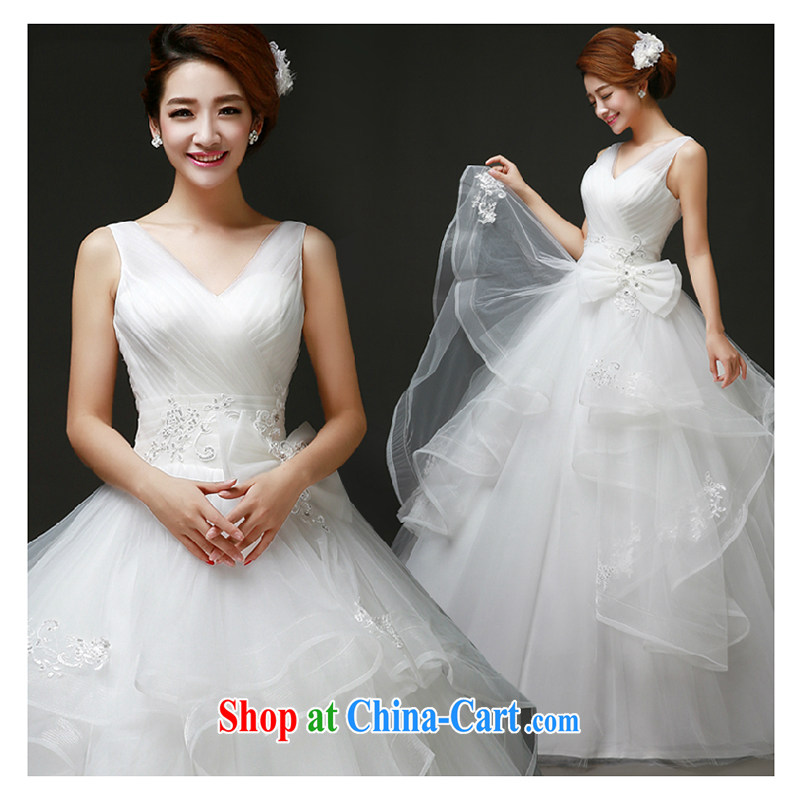 White home about wedding dresses new spring 2015 simple bridal wedding chest bare lace shoulders Deep V wedding white M