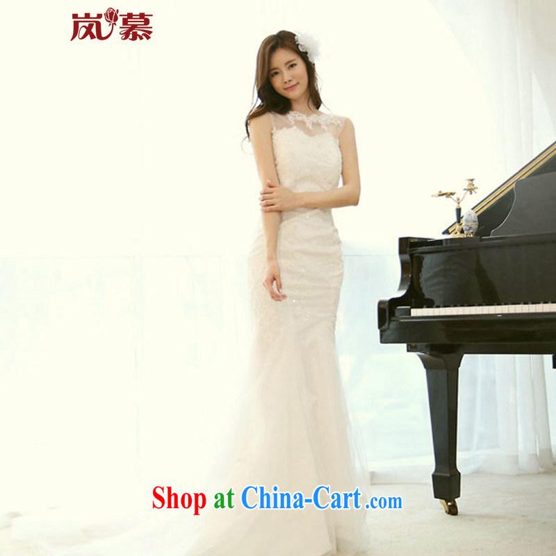 Sponsors The 2015 new Korean version design a shoulder-waist crowsfoot super sweet bridal wedding dresses ivory XL _chest 95_waist 79_