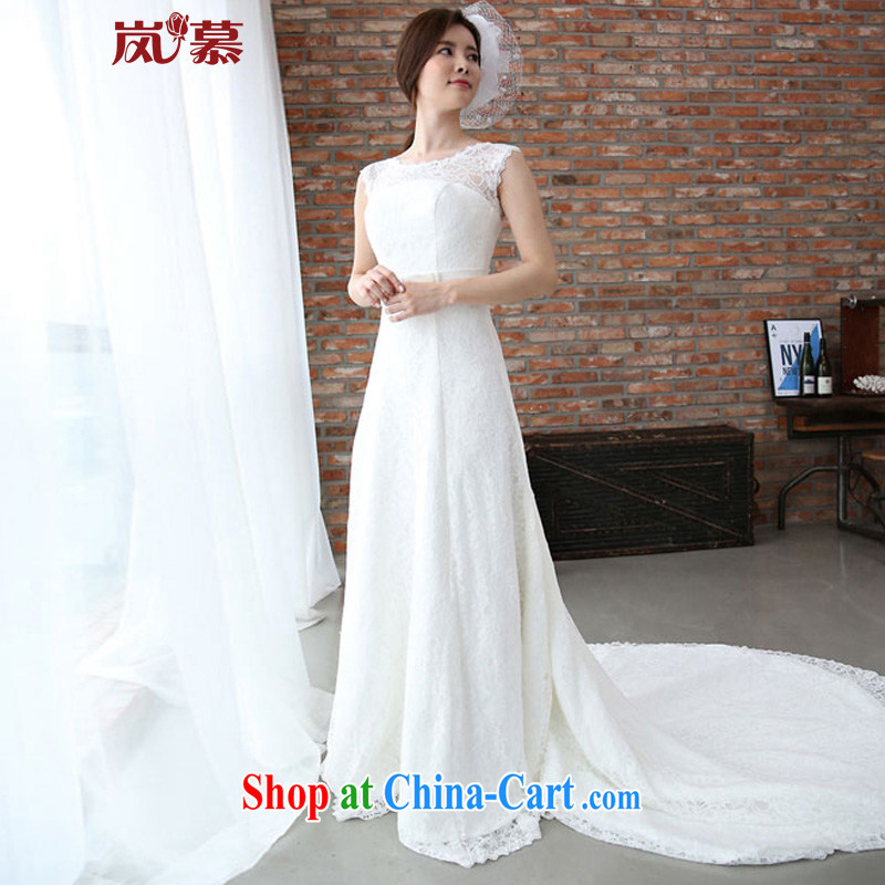 Sponsors The 2015 New Original Design Korean conservative full-lace-up waist cultivating long-tail bridal wedding white XL (chest 95/waist 79)
