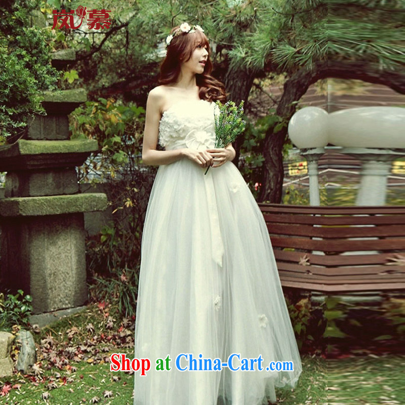 Sponsors The 2015 new design high-waist pregnant Sun belly meat without waist size strap bridal wedding ivory XL (chest 95/waist 79)