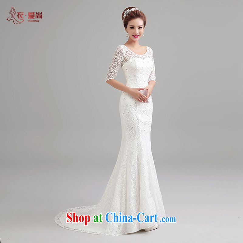 Yi love is summer 2015 new wedding dresses the Field shoulder cuff in sense of the waist the tail end crowsfoot wedding 100_ pure lace wedding dresses female white to make the _30 does not return