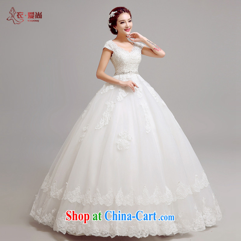 Yi love is wedding dresses summer 2015 new stylish bride Korean video thin double-shoulder strap with V-neck wedding dress white drill to make the _30 does not return