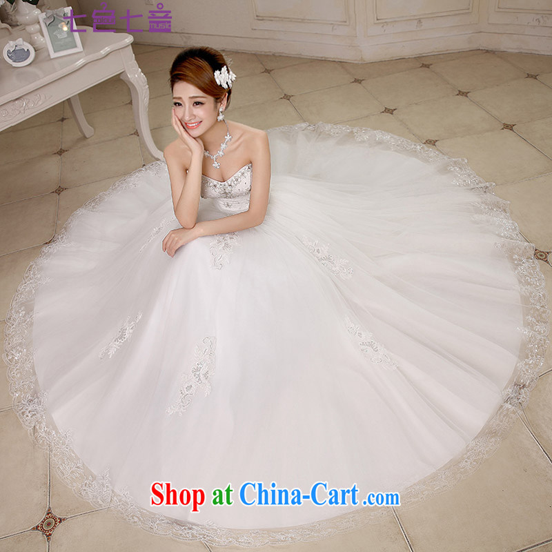 7 color 7 tone Korean 2015 stylish graphics thin lace with bare chest wedding wedding dresses H 074 white S