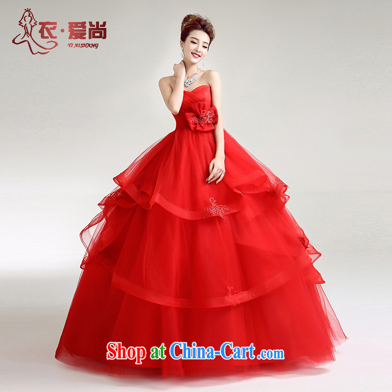 2015 new Korean-style wedding dresses, spring red high waist wiped his chest in the code binding with pregnant women shaggy dress red to make the _30 does not return
