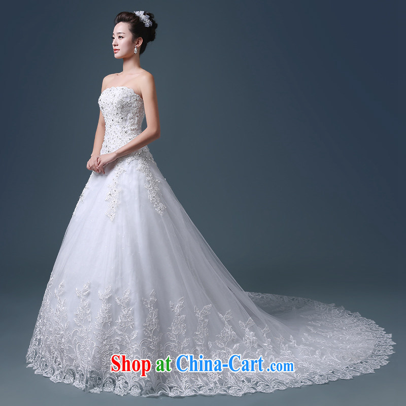 Atypical pneumonia Hang Seng bride's bare chest Korean long-tail wedding dresses new 2015 spring and summer marriage custom, waist graphics thin wedding elections chest bare, simple, elegant -- White XXL