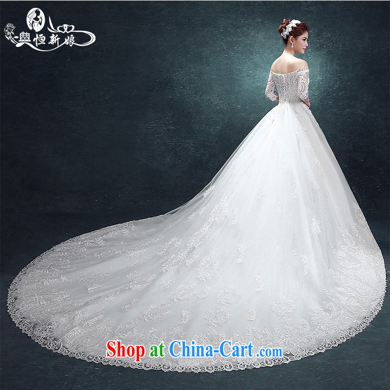 Code hang bridal wedding dresses 2015 new stylish one shoulder wedding-tail large code graphics thin Korean lace summer _large-tail, fine fabrics -- White XXXL