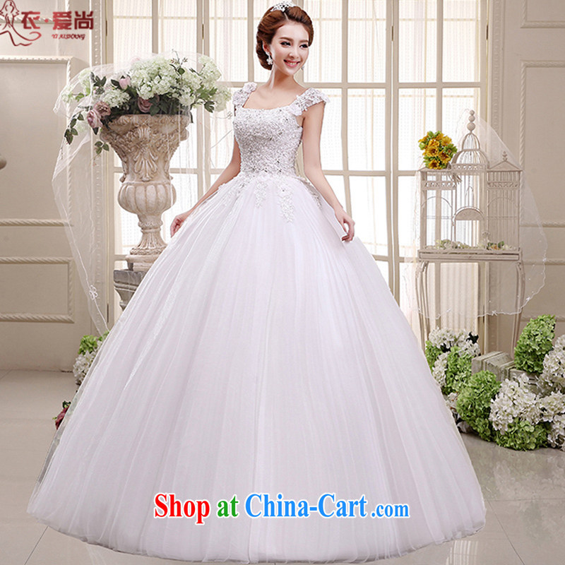 2015 spring and summer new wedding dresses bridal wedding dress a field package double-shoulder lace V for Korean-style with wedding dress girls white M white to make the _30 not return