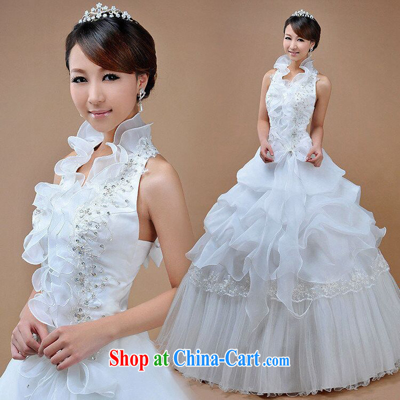 Pure bamboo yarn love 2015 new mount must also tie in with wedding dresses embroidery lace Korean-style wedding Princess sweet beauty graphics thin wedding dresses White only the US is also, XXXL