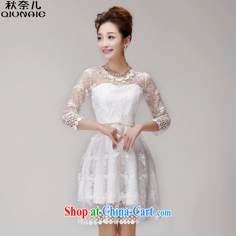 Autumn of 2015 children's new summer decoration, nails Pearl Web dresses Princess dresses women 281 white are code