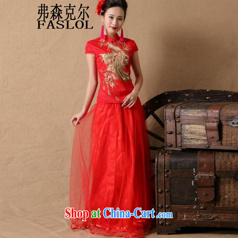 2015 bridal wedding ceremony cheongsam dress red bows, dress style 6648 red XL
