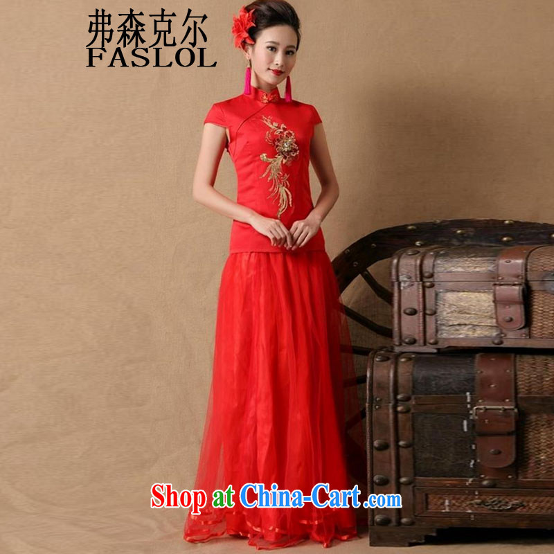 2015 bridal wedding ceremony cheongsam dress red bows, dress style 6670 red XL