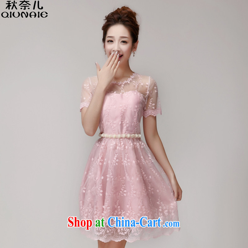 Autumn of 2015 children's new sweet language Empty Web yarn staple Pearl charm Princess dress girls summer 282 pink are code