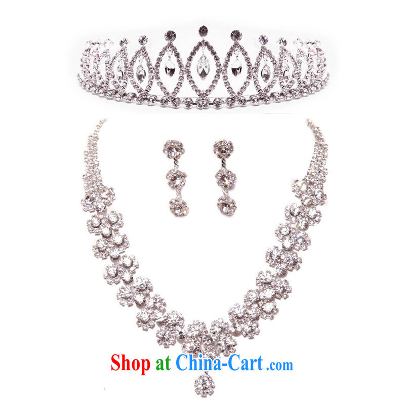 The bride's luxurious wedding jewelry Korean-style crystal Crown Kit chain jewelry wedding accessories 3-piece kit Crown + necklace + earrings