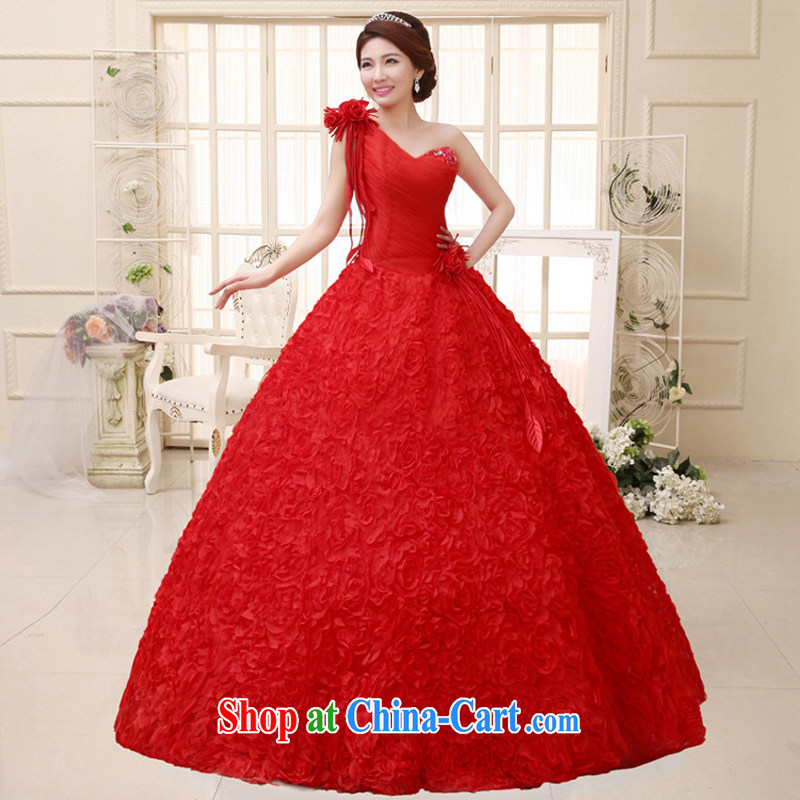 Her spirit 2015 new wedding dresses Korean sweet Princess with bride single shoulder bare chest wedding HS 291 red S