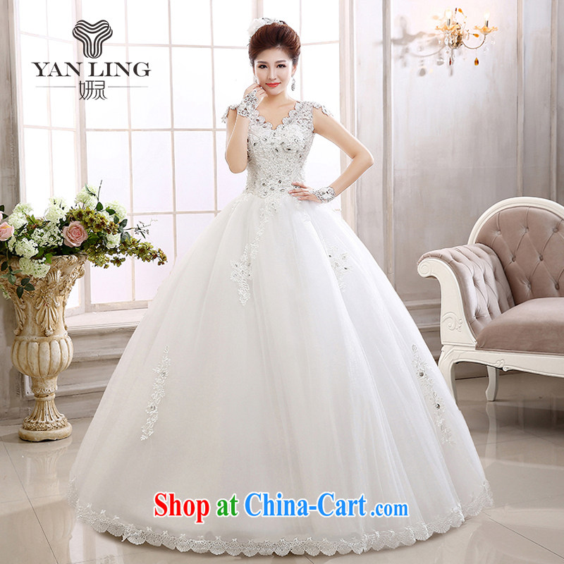 Her spirit 2015 new marriages and stylish Korean water-soluble lace field shoulder skirts bridal wedding HS 579 white S