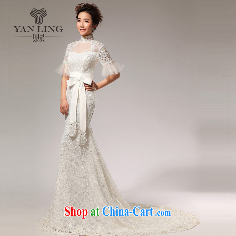 Her spirit 2015 New New, sexy small crowsfoot spring and summer in the cuff collar lace-tail wedding HS 72 white S