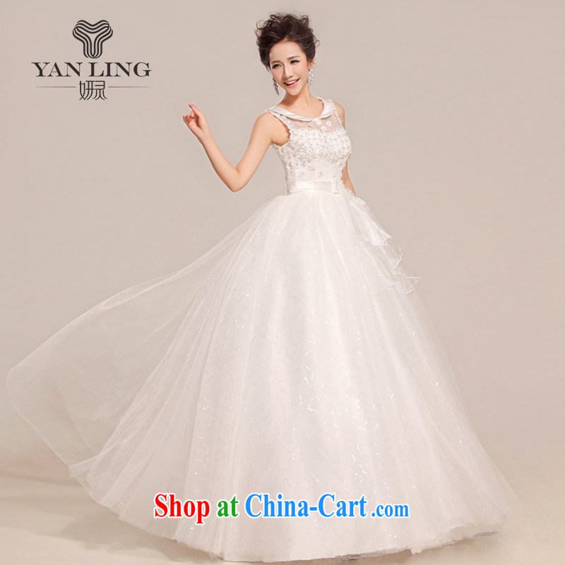 Her spirit 2015 new stylish wedding dresses Korean version with bride thin large code retro lace shoulders HS 391 white L