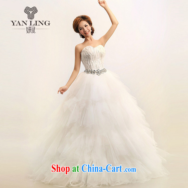 Her spirit 2015 new Korean Korean feather wiped chest Princess marriages wedding dresses HS 164 white S
