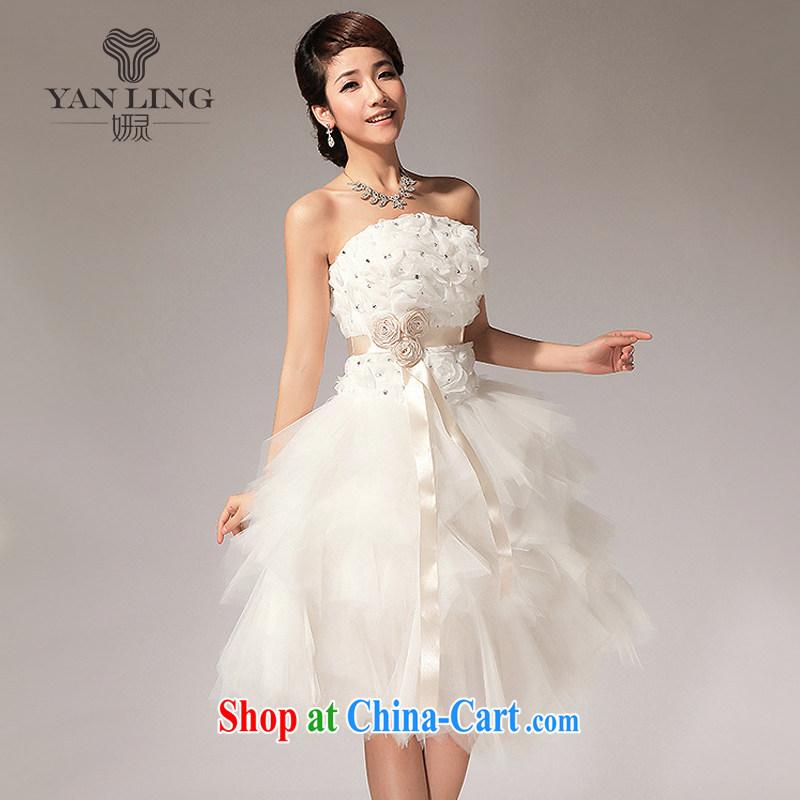 Her spirit 2015 new erase chest flowers knee sister bridesmaid dresses small short skirt LF 112 white S