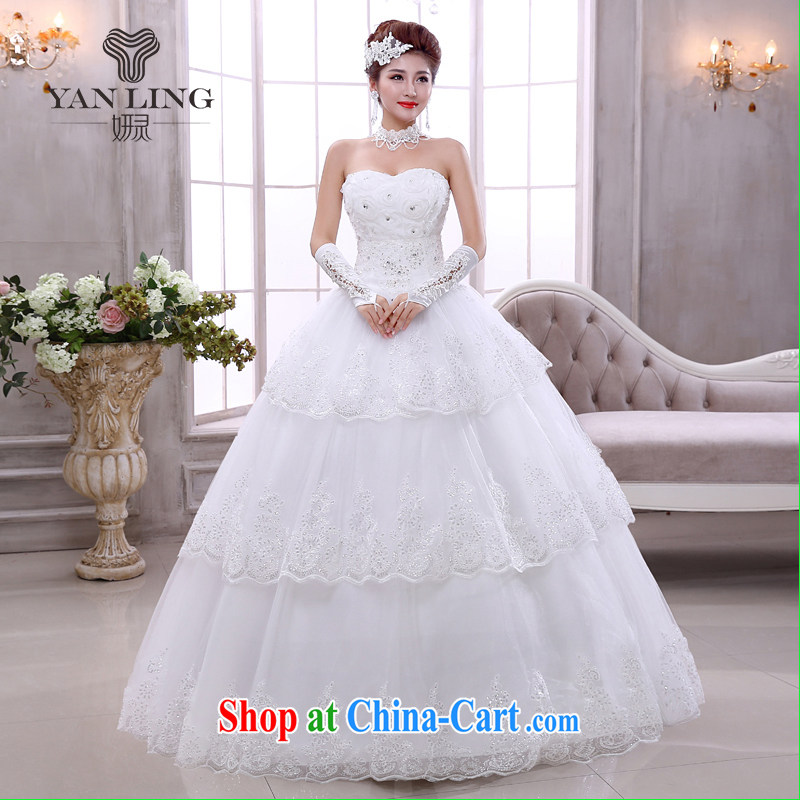 Her spirit 2015 Korean bridal light V collar white Korean marriage spring with tie wedding dresses HS 524 white S