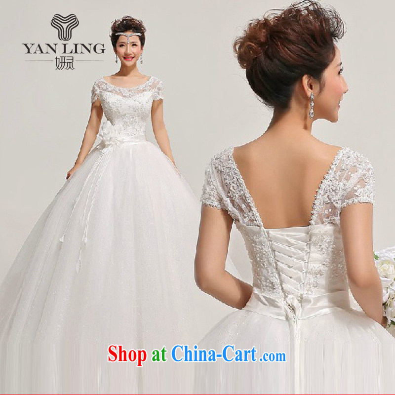 Her spirit 2015 new lace field shoulder skirts floral decorations wedding dresses HS 315 white S