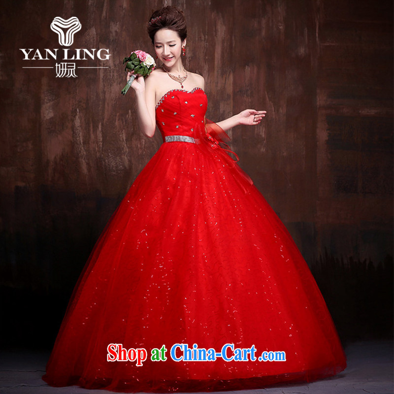 Her spirit 2015 new lace flash drill shoulder strap with skirts Princess bride wedding wedding dresses J 0014 red L
